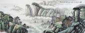 山水名家周升寅六尺横幅山水画《峡江秋色》