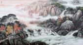 北京美协周升寅六尺横幅山水画《彩虹幽居》