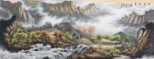 【已售】北京美协周升寅六尺横幅山水画《幽居秋色》