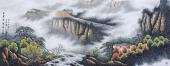 风景山水画 周升寅六尺写意山水画《白云深处有人家》