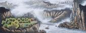 【已售】周升寅六尺写意山水画作品《一帆风顺》