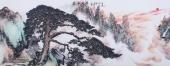 【已售】北京美协周升寅六尺精品写意山水画《苍松迎客》