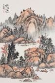 著名山水画家曲胜利写意小尺寸山水画《处处皆秋色》