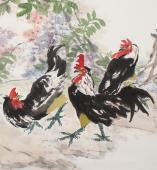 【询价】名家书画院理事冯志光六尺横幅花鸟画作品《春风吉祥》
