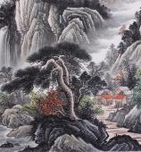 曾庆淮六尺写意青绿山水画《松山飞瀑》