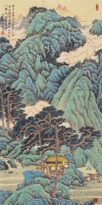 名家字画 欧阳四尺竖幅山水画作品