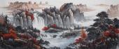 湖南美协曾庆淮小八尺山水画作品《源远流长》