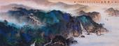 【已售】山西美协孔国宾小六尺泼彩精品山水画《秋江叠翠图》