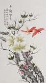 北京美协凌雪三尺竖幅工笔《玉兰双雀》
