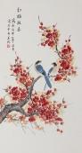 北京美协凌雪工笔花鸟画《红梅报春》