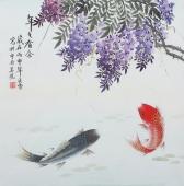 北京美协会员凌雪斗方工笔《年年有余》