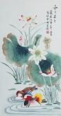北京美协会员凌雪三尺工笔花鸟《和和美美》