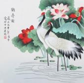 【已售】北京美协会员凌雪斗方《鹤寿图》
