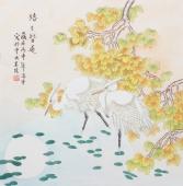 北京美协会员凌雪斗方花鸟《路路皆通》