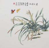北京美协会员凌雪斗方花鸟《君子清风》