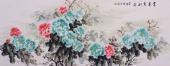 安徽美协会员云志六尺牡丹《富贵吉利图》