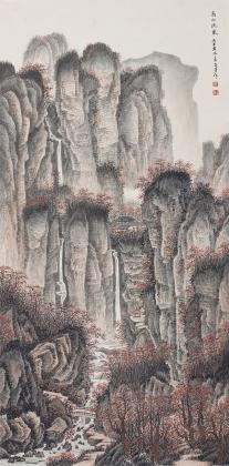 【询价】礼品收藏 王立芳四尺竖幅国画精品《高山流泉》