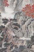 【询价】河北美协王立芳六尺精品国画《秋山林宇》