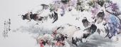 卧室字画 广西美协石云轩写意六尺横幅《花动一山春》