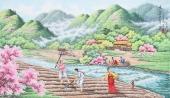 【已售】朝鲜一级艺术家李春福民俗画《故乡的春天》
