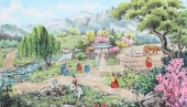 朝鲜一级美术师李春福写意人物画《乡村的春天》