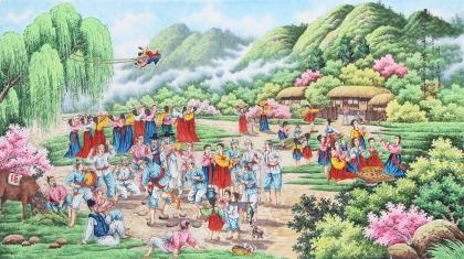 朝鲜一级艺术家李春福四尺写意人物画《故乡的春天》