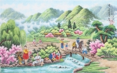 朝鲜一级艺术家李春福写意人物画《故乡的春天》