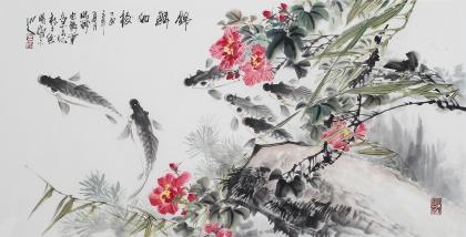 广西美协石云轩写意花鸟画《锦鳞如梭》