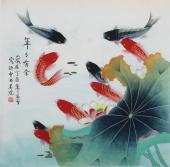 【已售】北京美协凌雪四尺斗方工笔花鸟画《年年有余》