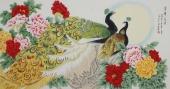 北京美协凌雪六尺横幅工笔花鸟画《荣华富贵》