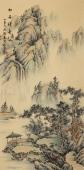 【已售】书画名家 广西美协黎启师小六尺竖幅青绿山水画《松泉清韵》