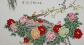 北京美协凌雪六尺横幅工笔花鸟画《前程似锦》