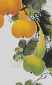 【已售】黄艺三尺竖幅水墨小写意花鸟画葫芦图《福禄图》