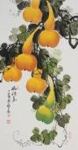 黄艺三尺竖幅水墨小写意花鸟画葫芦图《福禄图》
