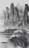 漓江画派莫桂明小尺寸水墨山水《与坪騒影》