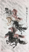 【已售】南京著名动物画名家 杨主旺四尺精品竖幅新品力作《盛世雄风》