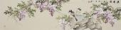 河南花鸟名家皇甫小喜四尺对开写意紫藤《紫气东来》