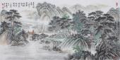 广西美协欧阳四尺横幅仿古山水画《悬泉触石鸣》