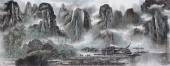 广西美协莫桂明小六尺 精品山水画《漓江烟雨》