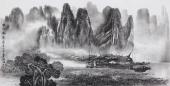 莫桂明写意三尺国画山水《兴坪帆影》
