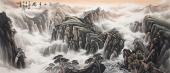 国礼艺术家八尺写意山水画《江山多娇》