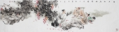 江苏著名人物画家石慵 写意六尺对开人物画《春庭花落无声》