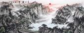 国礼山水画名家周卡 六尺横幅精品国画《青山叠翠》