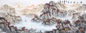 国礼山水画名家周卡 六尺横幅精品国画《峡江秋色》