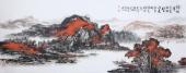 著名山水名家杨秀亮写意小六尺山水画《万山红遍》