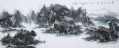 著名山水名家杨秀亮写意小六尺山水画《青山不老碧水长流》