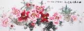一级美术师王凌风 六尺横幅《牡丹花开溢天香》