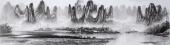广西美协莫桂明写意山水画 小八尺横幅《兴坪云锁半遮峰》