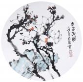 花鸟名家石云轩写意圆面《春色满园》