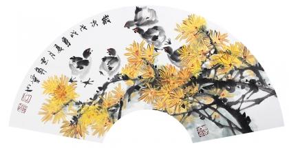 【已售】花鸟名家石云轩写意扇面菊花图